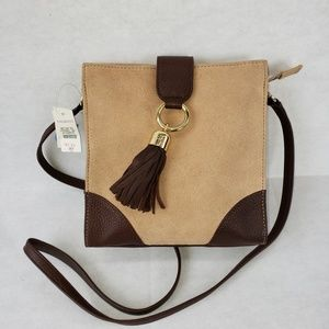 NWT Talbots Suede and leather shoulder bag